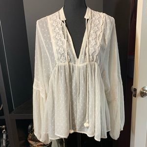 ZARA Swiss Dot Boho top - XL. NWOT